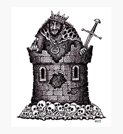 Lonely King surreal black and white pen ink drawing Photographic Print