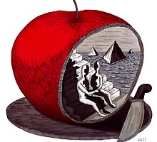 Unity surreal black and white and red pen ink drawing by Vitaliy Gonikman