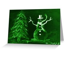 Green Snowman Greeting Card