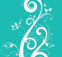 Vibrant Teal Scrolls by martoq