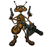 Funny Fire Ant with Guns cartoon drawing Photographic Print