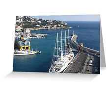 Magnificent sailboat in the harbor Greeting Card