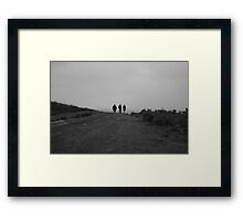 Three people walking,Black and White  Framed Print