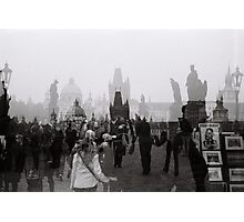 Time caught. Crossing over the Charles Bridge.  Photographic Print