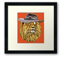 Lion with hat, cigarette, and monocle Framed Print