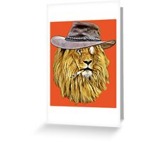 Lion with hat, cigarette, and monocle Greeting Card