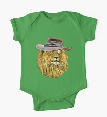 Lion with hat, cigarette, and monocle One Piece - Short Sleeve