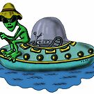 Fishing Alien funny cartoon drawing by Vitaliy Gonikman