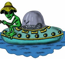 Fishing Alien funny cartoon drawing by Vitaliy Gonikman