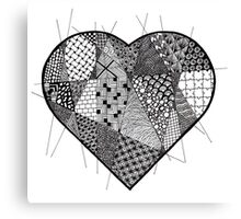 Fragmented Patterned Heart Canvas Print