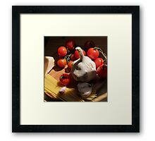 Pasta with Ingredients on the kitchens table Framed Print