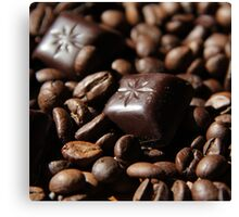 Chocolate and coffee beans Canvas Print