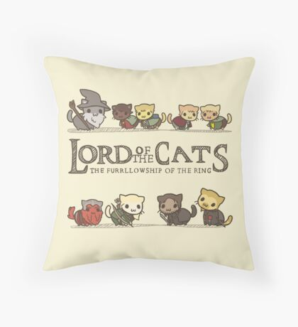 The Furrlowship of the Ring Throw Pillow