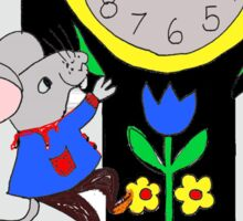 MOUSE ON CLOCK  Sticker