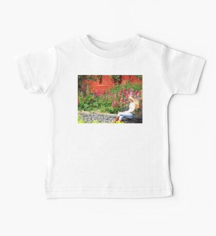 Finn on Phone Affront Lupine and Phlox Baby Tee
