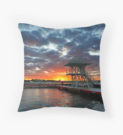 Eastern Beach Swimming Enclosure at Geelong Throw Pillow