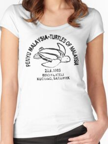 Turtles of Malaysia Postal Stamp - Vintage Print Women's Fitted Scoop T-Shirt