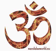 Buddhist Red Fire Om Mantra by Mandala's World