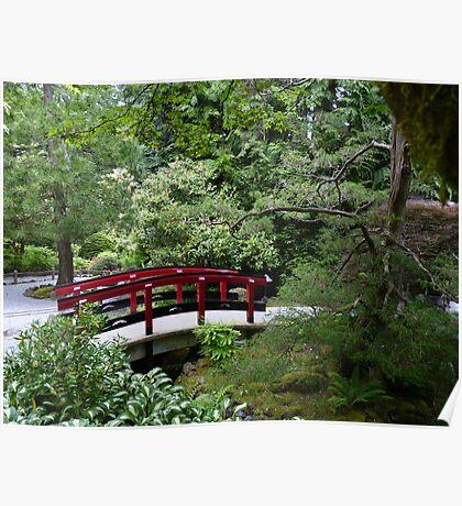 Bridge in Japanese Garden - Butchart Gardens Poster