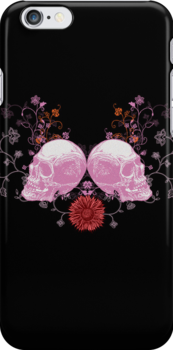 Skulls on Iphone Case by Voila and Black Ribbon