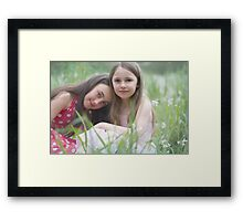 in a field of spring flowers .............. Framed Print
