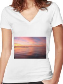 Morning Serenity on the Gulf Shore Women's Fitted V-Neck T-Shirt