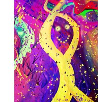 Two Yellow-Shifted Undulating Strings Coming Together As One At A Multi-Colored Event Horizon  Photographic Print