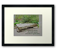 A Bench For Those Who Seek Repose Framed Print