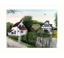 Cottages at Brent Knoll, Somerset Art Print