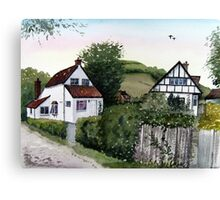 Cottages at Brent Knoll, Somerset Canvas Print