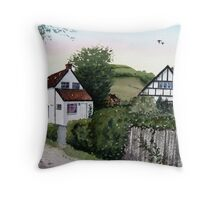 Cottages at Brent Knoll, Somerset Throw Pillow