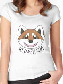 Cute Red Panda Grin Women's Fitted Scoop T-Shirt
