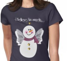 Snowman Angel Womens Fitted T-Shirt