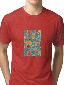 Robots on blue. Tri-blend T-Shirt