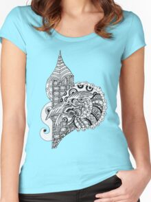 Tower ornament with bird Women's Fitted Scoop T-Shirt