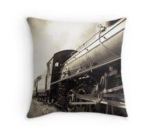Steam Train B&W Throw Pillow