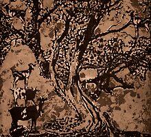 Goat Tree- intaglio print by Amanda Heigel