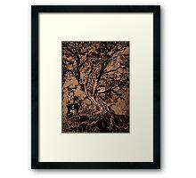 Goat Tree- intaglio print Framed Print