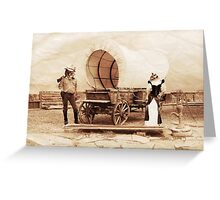 Old West Cowboy Cat and Saloon Kitty Greeting Card