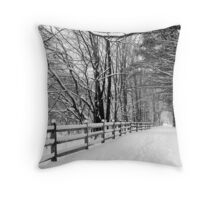 Wintery Walk in the Woods Throw Pillow