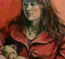 'Georgie: a study in red'  2011. ⓒ Oil painting on canvas. by Elizabeth Moore Golding