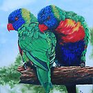 Rainbow Lorikeets by secretplanet