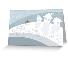 winter landscape with reindeers Greeting Card