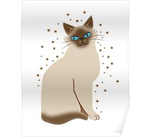 Happy Siamese/Burmese fancy cat Poster