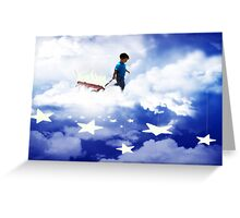 Star Boy Pulling Little Red Wagon Greeting Card