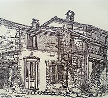 La Vigna, Anghiari, Tuscany. ink sketch. 2011© by Elizabeth Moore Golding