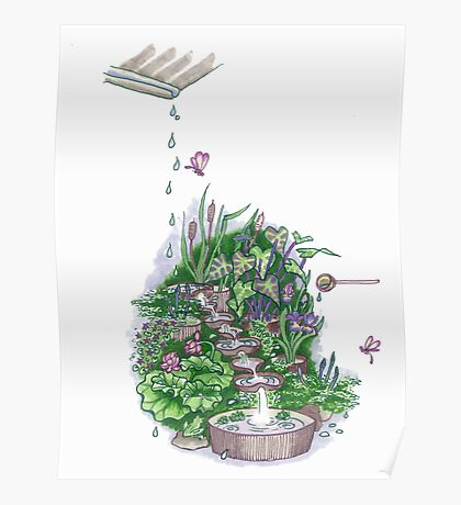 Flowform edible Station garden in Mauve Poster