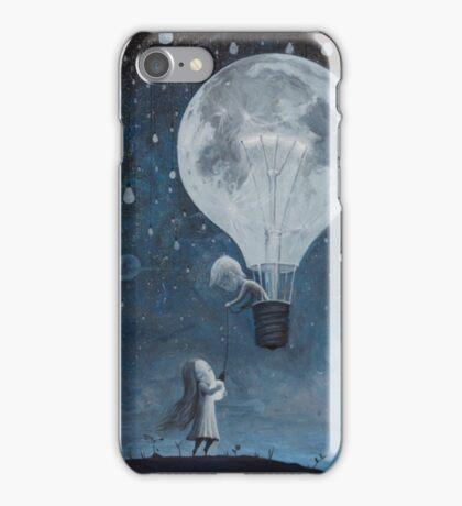 hot air balloon light bulb moon iPhone Case/Skin