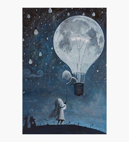 hot air balloon light bulb moon Photographic Print