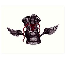 Flying Boot black and white pen ink drawing Art Print